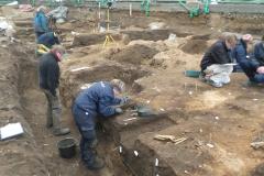 Skeletterne vælter op af jorden ved Albani Torv i Odense.