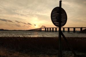 Solopgang ved Langelandsbroen
