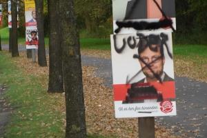 Hærværk mod valgplakater