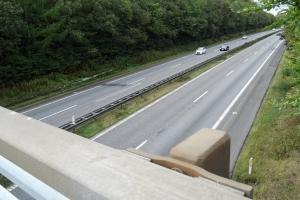 Sten kastet ned på Fynske Motorvej ved Spedsbjergvej