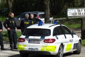3. maj 2018: Fyns Politi har ved en aktion i haveforeningerne Biskorup og Martinsminde i Odense NØ blandt andet fundet amfetamin og ammunition. Foto: Ole Holbech