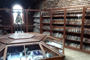 16. maj 2019: Kammerherrens Oldtidssamling på Broholm Slot rummer 60.000 stykker flint fra Stenalderen, sirligt arrangeret efter type og tidsperiode på skråhylder fra gulv til loft.