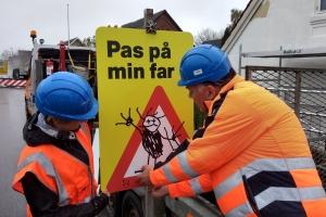 25. april 2018: Trafikkampagne Pas på min far. Foto: Ole Holbech