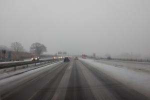 5. marts 2018: Snevejr på motorvejen. Foto: Ole Holbechj